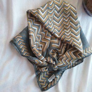 "Echo 100% Silk Square Scarf Grey, Gold & White 23"""